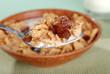 macro spoonful of bran and raisin cereal