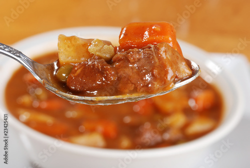 macro spoonful of beef stew