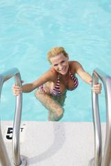 Sexy Bikini Model coming out of the Pool