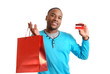African american man with shopping bag and credit card