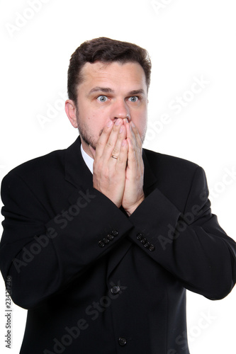 businessman in tension on isolated background