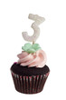 Mini cupcake with birthday candle for three year old