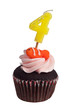 Mini cupcake with birthday candle for four year old
