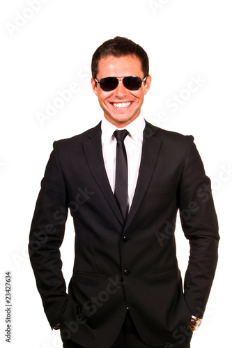 Young professional smiling with sunglasses