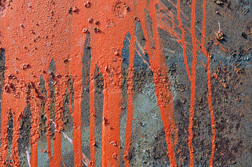 paint runs on rusty metal background