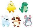 Baby pets. Funny cartoon and vector characters.