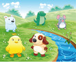 Baby pets near the river Cartoon and vector illustration