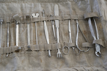 Old medical instruments and equipment for military surgeon