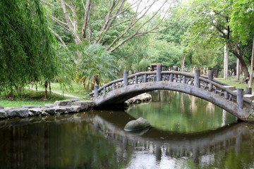 Arched bridge in an Asian garden