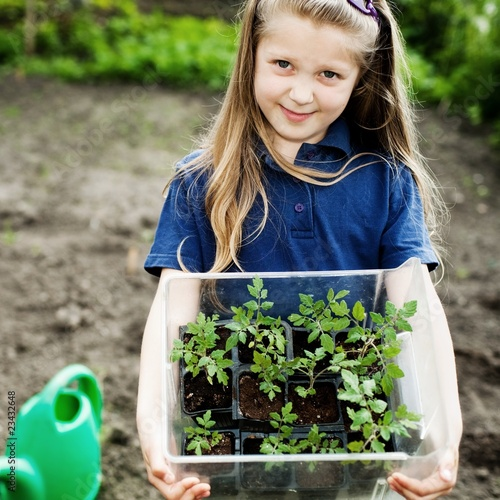 Girl with seedlings