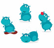Cute happy blue hippopotamus in four poses. VECTOR