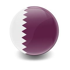Esfera brillante con bandera Qatar