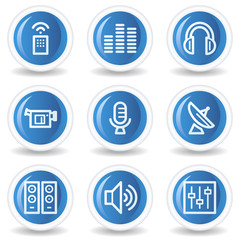 Media web icons, blue glossy circle buttons