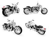 Sammlung von Motorrädern isoliert Ansichten