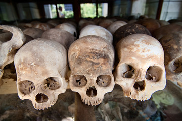 Skulls of torture victims  at the Killing Fields, Cambodia.