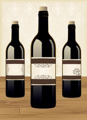Vintage bottle of wine and label