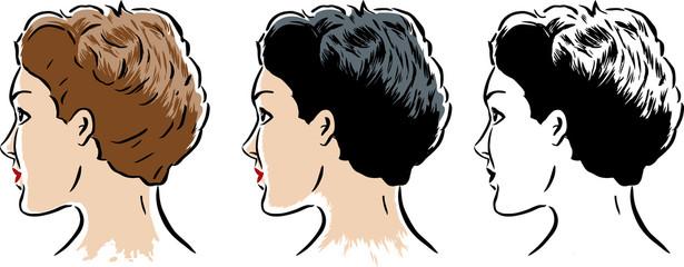 Stylized woman in 3 styles