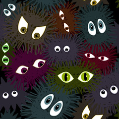 big eyes monsters- seamless pattern