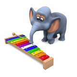3d Elephant plays xylophone