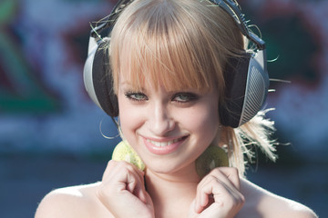 Teenage cutie listening to music