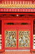 Ancient wooden red door sculpture in Chinese style