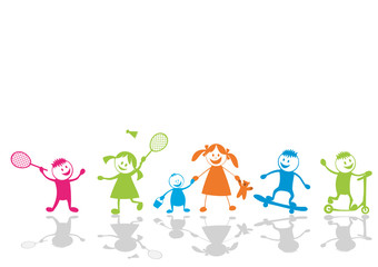 Happy playing children.Sport