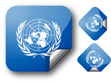 Sticker with UN flag