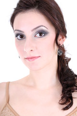 portrait of a brunette with smoky eyes