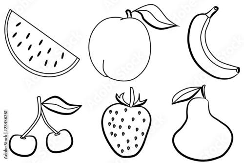 """Frutas de verano - dibujos para colorear"""" Stock image and royalty ..."""