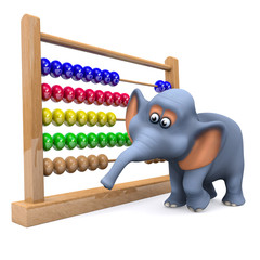 3d Elephant counting on his abacus
