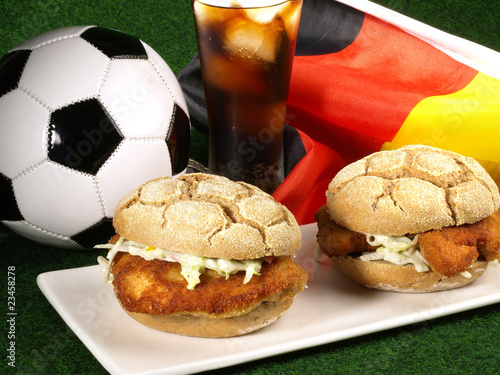 Leinwanddruck Bild Fussball Snack