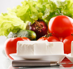 fresh vegetables with cottage cheese