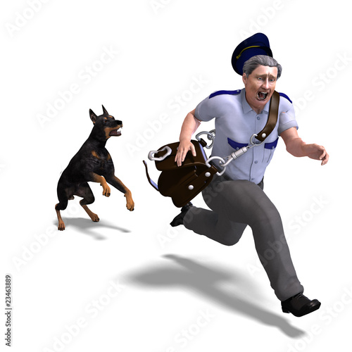 the postman runs from the dangerous dog. 3D rendering with clipp