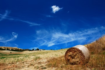 Golden dry field with interesting blue sky and hay bale