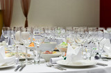Wedding white reception place ready for guests. poster
