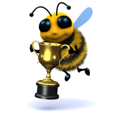 3d Bee holds the winners cup