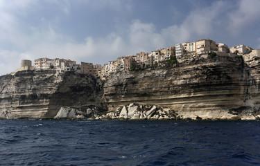 France, Corsica, Bonifacio colorful houses seen from the sea