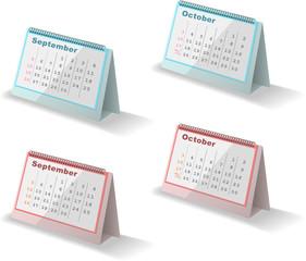 カレンダー September October 2010