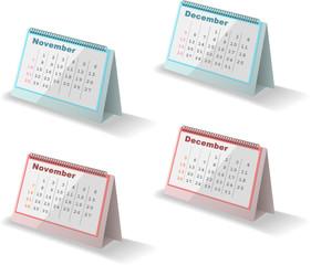 カレンダー November December 2010