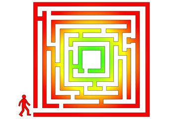 Colorfull labyrinth with man