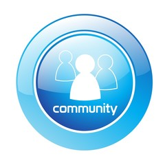 Button Community blau