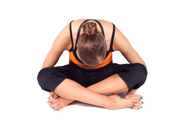 Woman Doing Toes Stretching Yoga Exercise