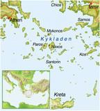 Kykladen-Griechenland-Landkarte