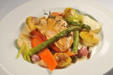 Hähnchenbrust, Gemüse, Essen