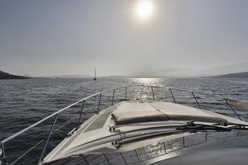 France, Corsica, the coast near Bonifacio on a luxury yacht