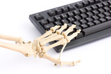 Internet addiction concept with skeleton poster