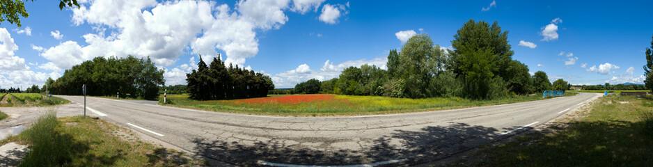 route départementale et champ de coquelicot dans la  campagne