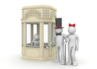 Couple taking tickets in booking office - Entertainment collecti
