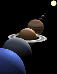 Solar system planets in alignment around sun