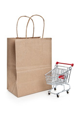 shopping bag and shopping cart